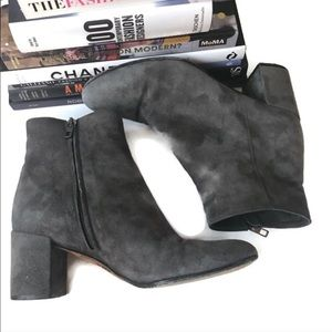 VINCE Booties Gray Suede Ankle Heels Zipper 9.5